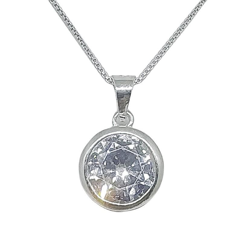 Colar Ponto De Luz Com Cristal - Prata 925