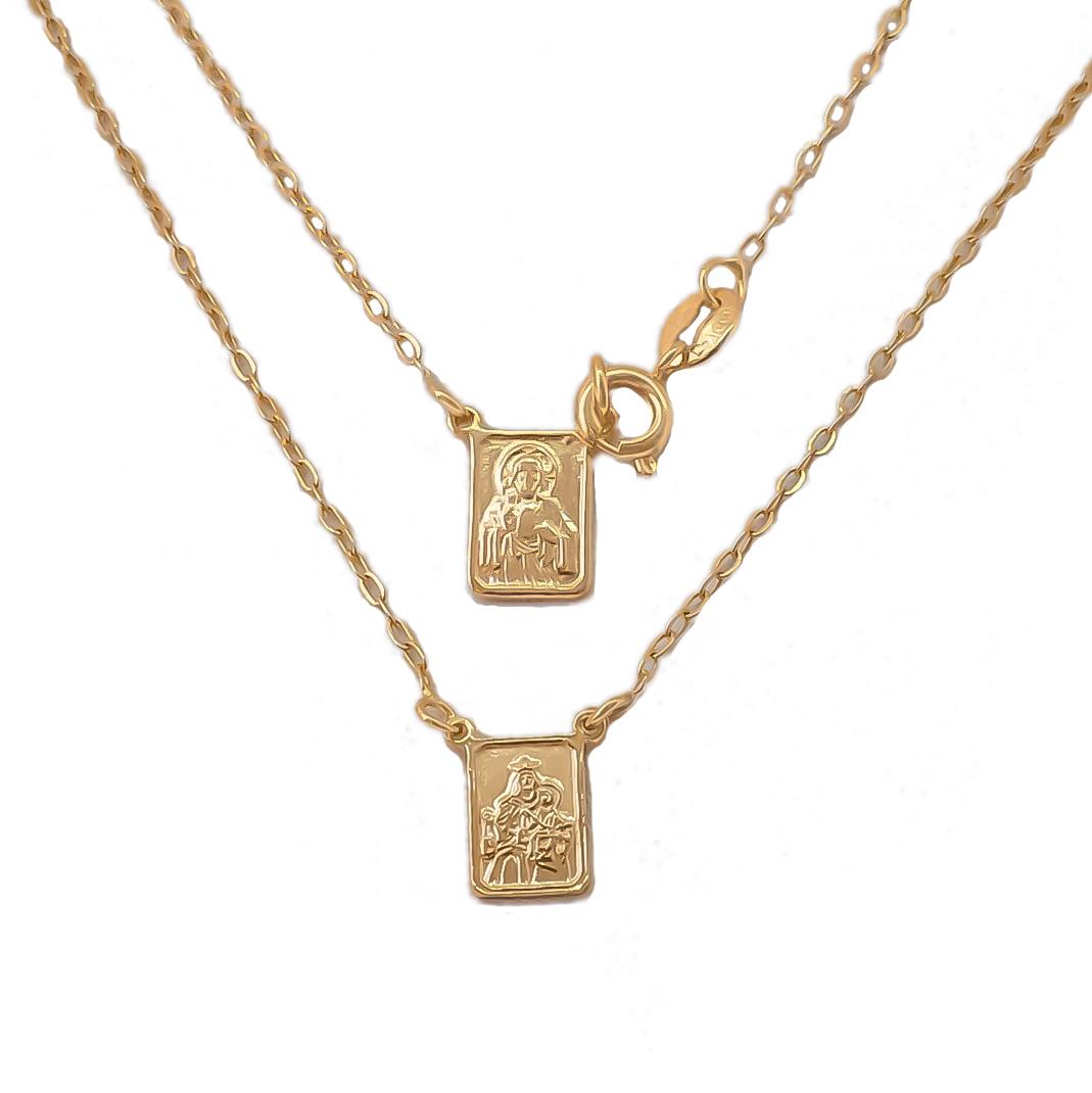 Escapulário N S Carmo E S C Jesus 45 cm Folheado Em Ouro
