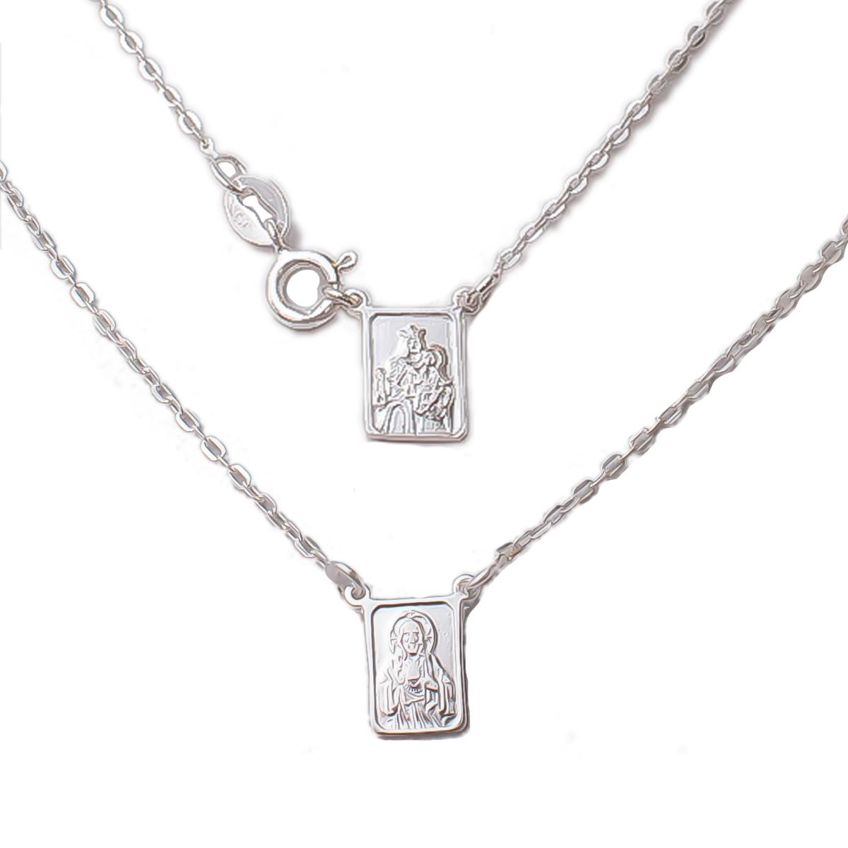Escapulário N S Carmo E S C Jesus 45 cm - Prata 925