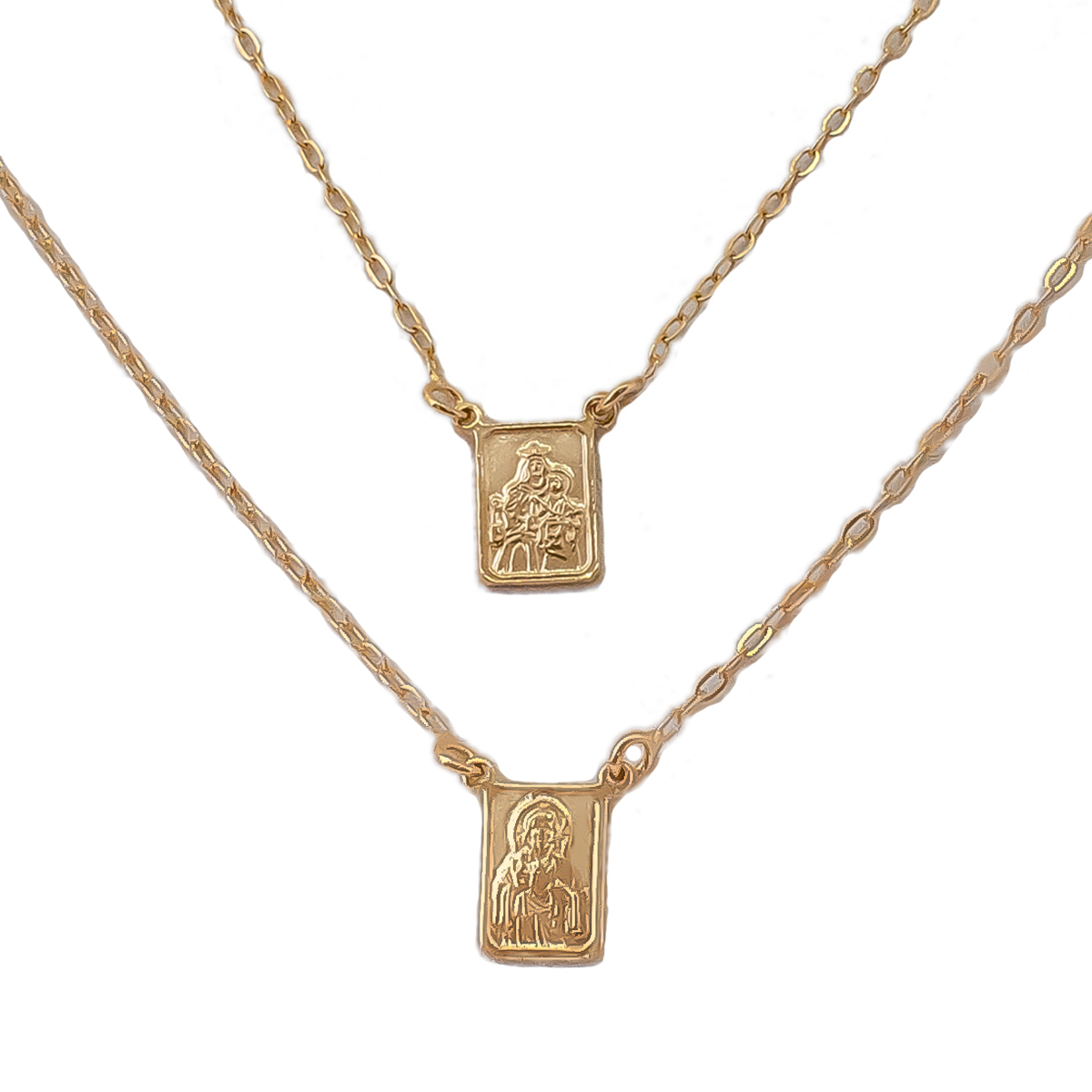 Escapulário N S Carmo E S C Jesus 70 cm Folheado Em Ouro