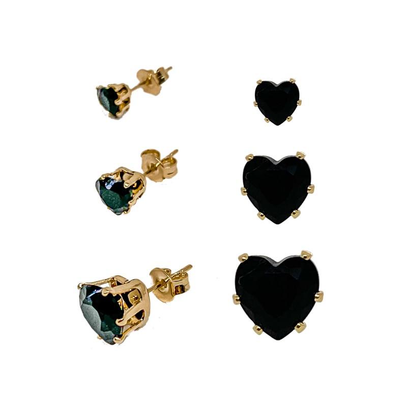 Kit De Três Brincos Com Pedra Ônix Em Formato De Coração