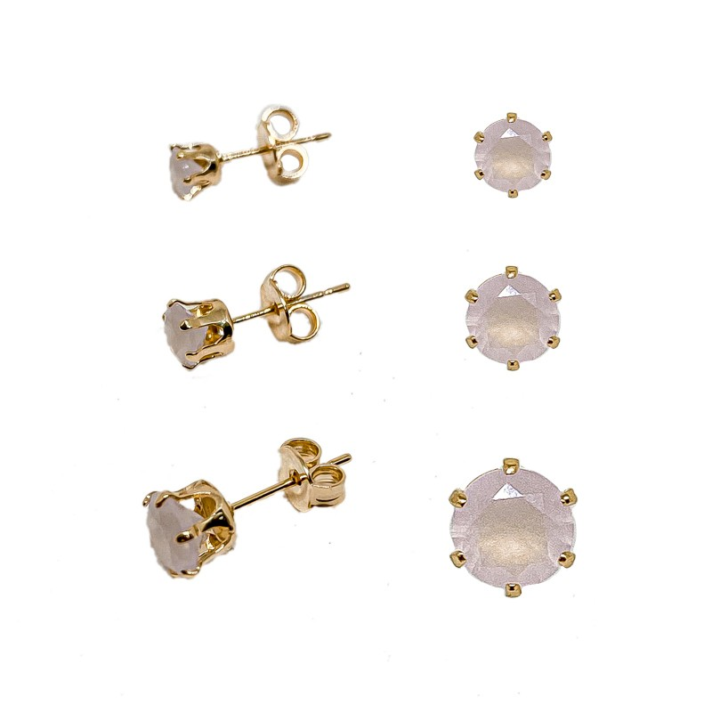 Kit De Três Brincos Com Pedras Redondas Folheado Em Ouro