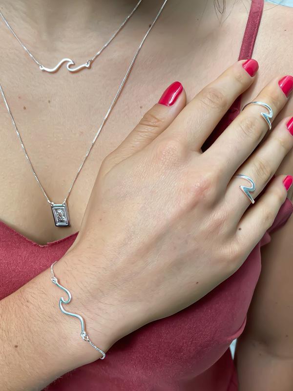 Look Onda Do Mar (brinco, colar e anel - 10% OFF)