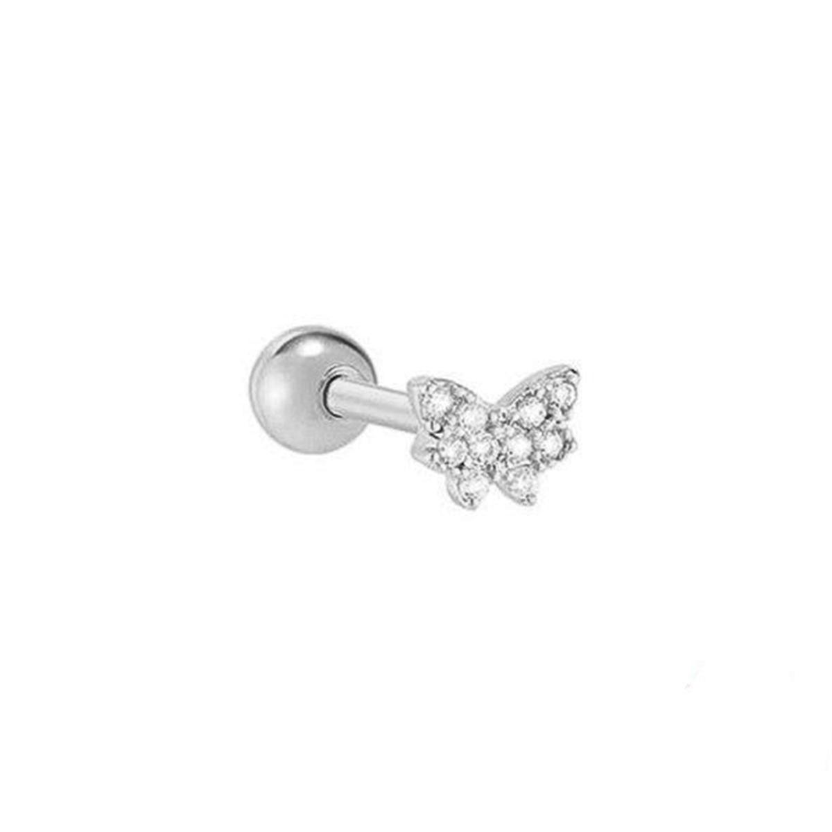 Piercing Borboleta Com Zircônias Helix e Tragus - Prata 925