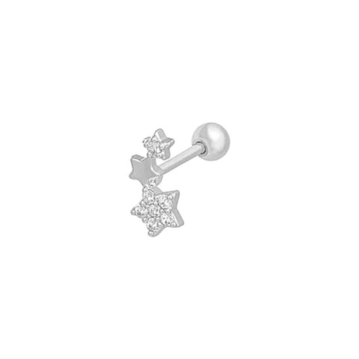 Piercing Três Estrelas Com Zircônias Helix e Tragus - Prata