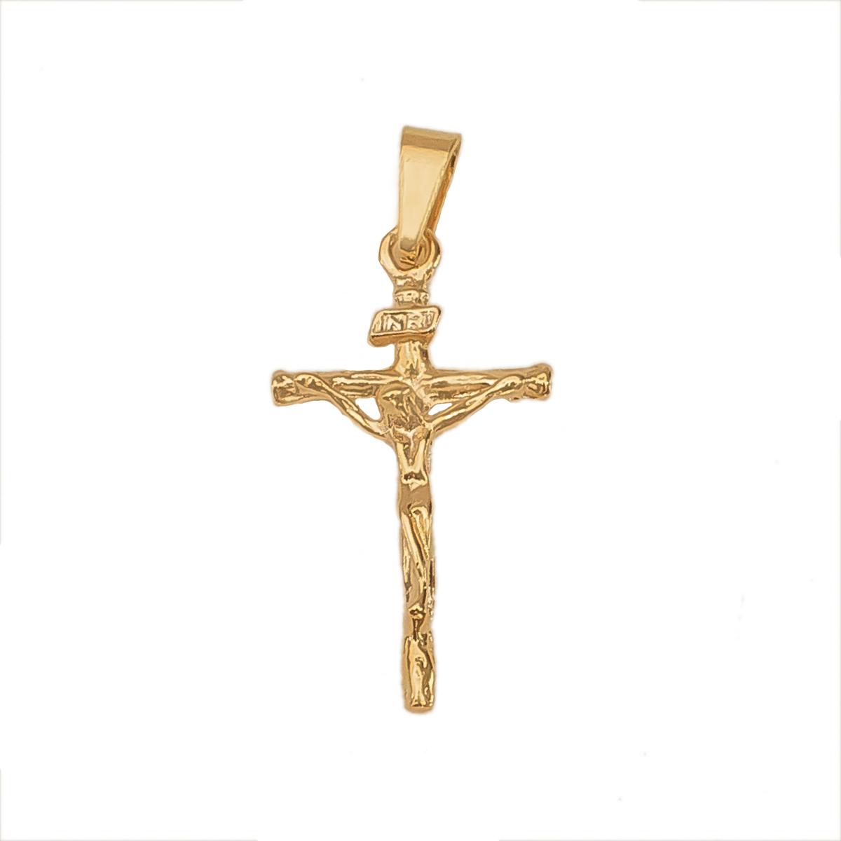 Pingente Crucifixo Com Imagem De Cristo Folheado Em Ouro