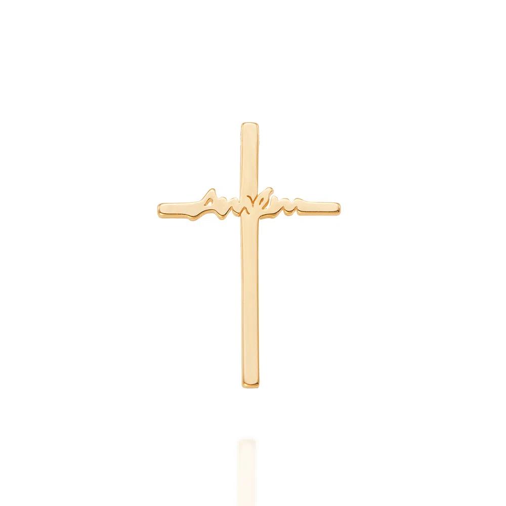 Pingente Cruz Amém Lisa Folheado Em Ouro - Rommanel