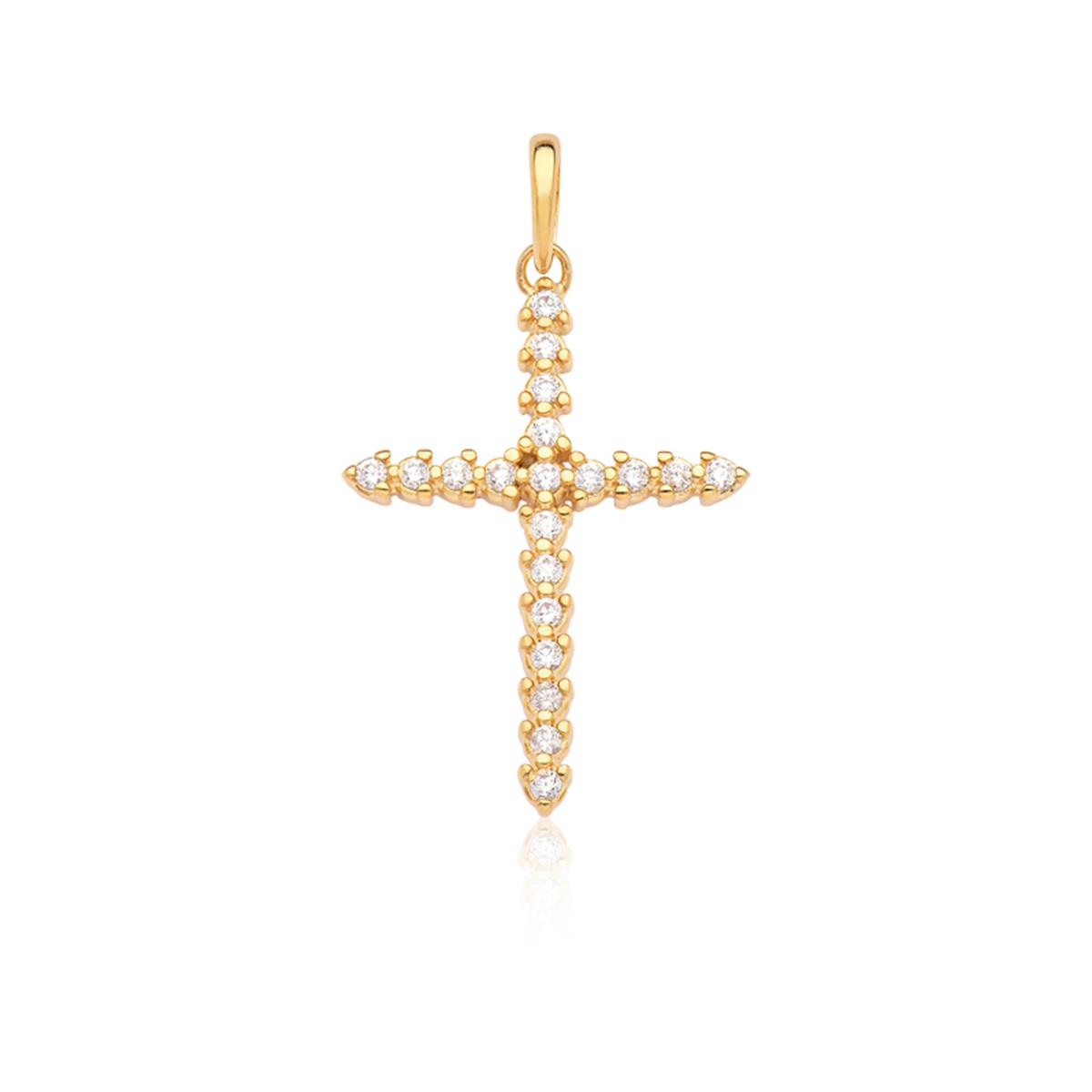 Pingente Cruz Cravejada Com Zircônia Branca Folheado Em Ouro