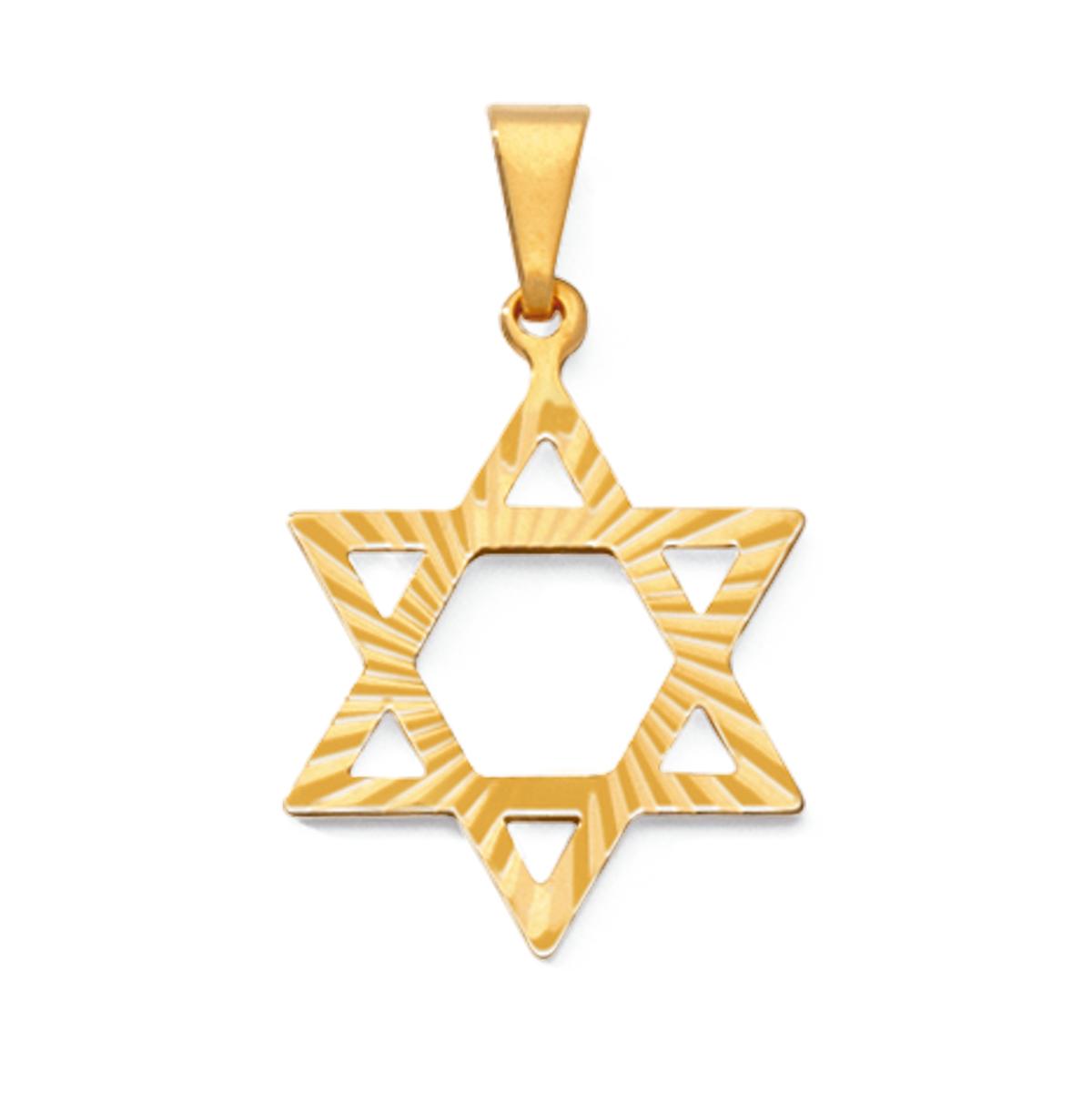 Pingente Estrela de Davi Diamantado Folheado Em Ouro