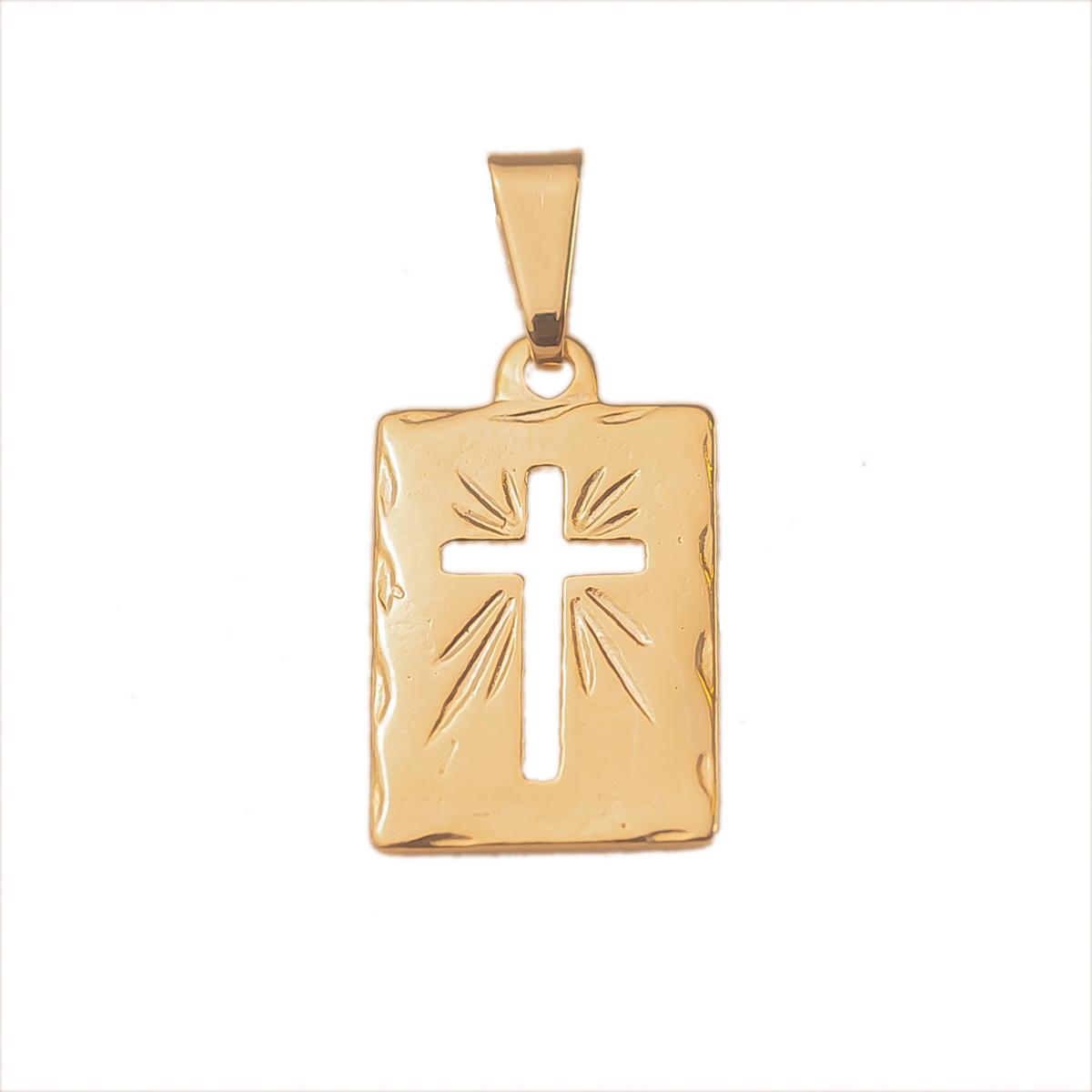 Pingente Placa Com Cruz Vazada Folheado Em Ouro