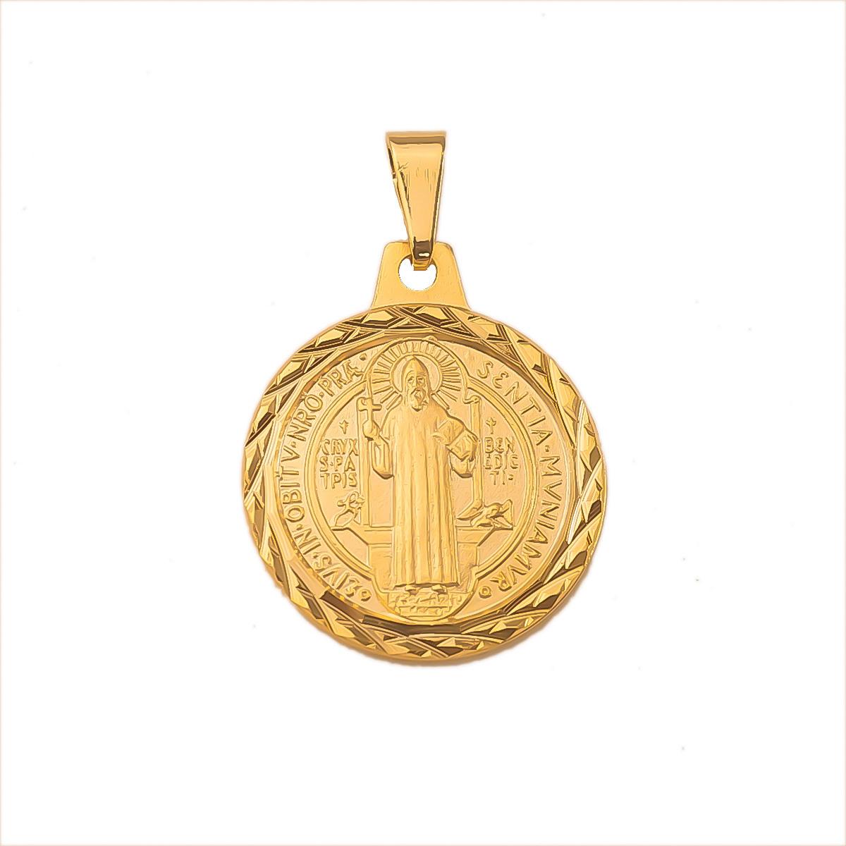 Pingente São Bento Com Borda Diamantada Folheado Em Ouro