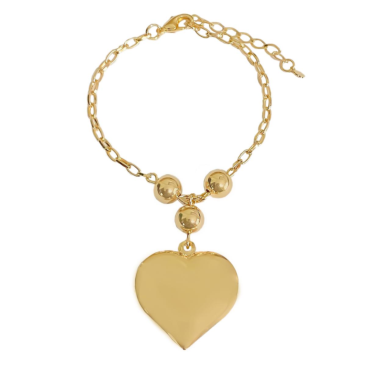 Pulseira Berloque De Coração e Três Bolas Folheado Em Ouro