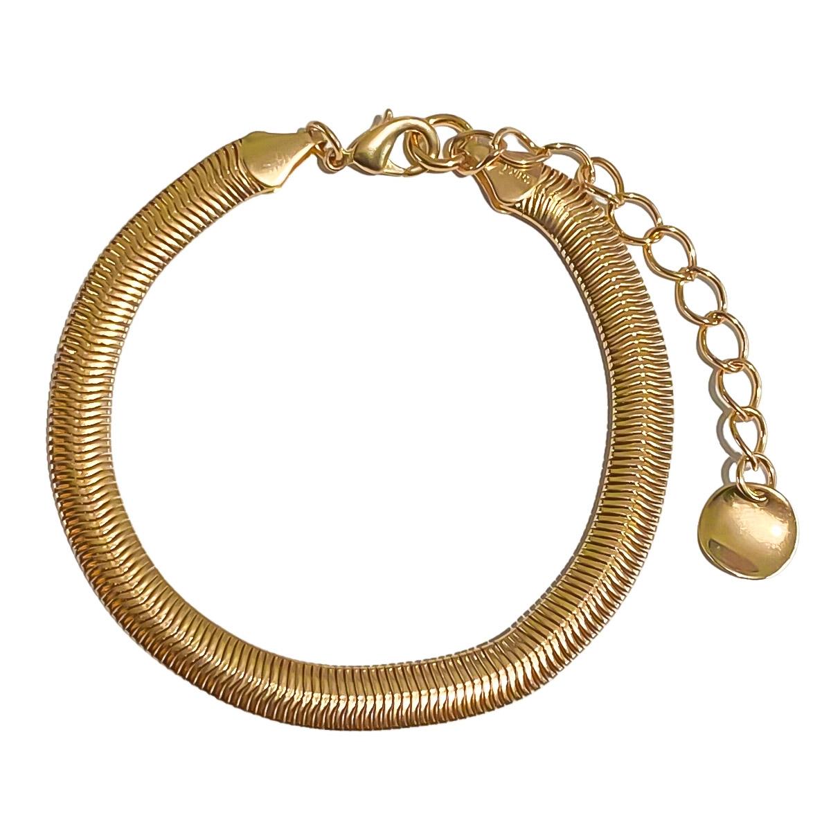 Pulseira Com Escamas De Cobras 17 Cm Folheado Em Ouro