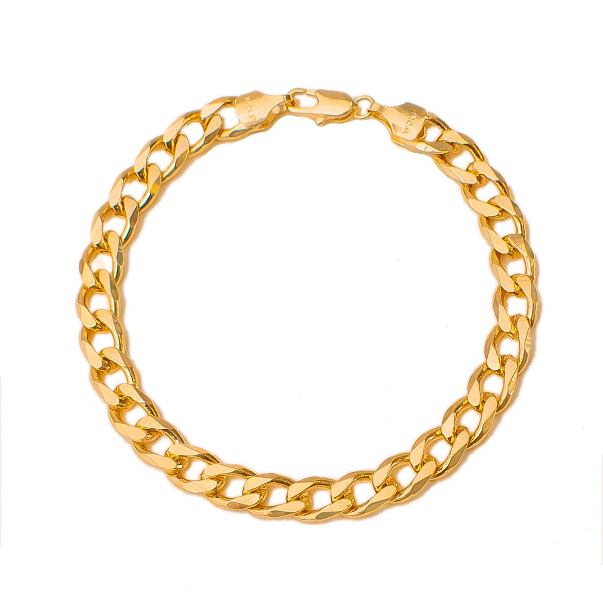 Pulseira Masculina Elo Cadeado 22 cm Folheado Em Ouro