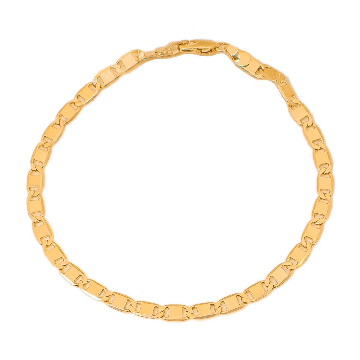 Pulseira Masculina Piastrini 22 cm Folheado Em Ouro