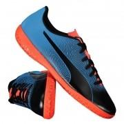 Chuteira Futsal Puma Pto/Azul/Coral Masculino Spirit