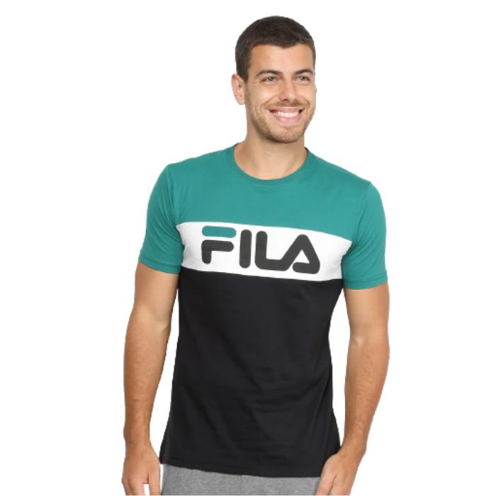 Camiseta Fila Verde/Branco Masculino Letter Colors