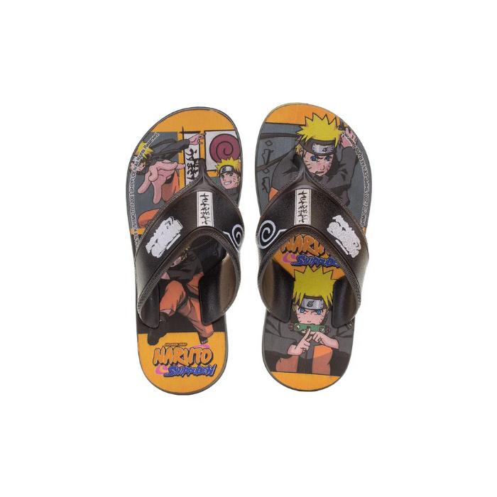 Chinelo Grendene Preto/Amarelo Masculino 22682 Naruto Anime