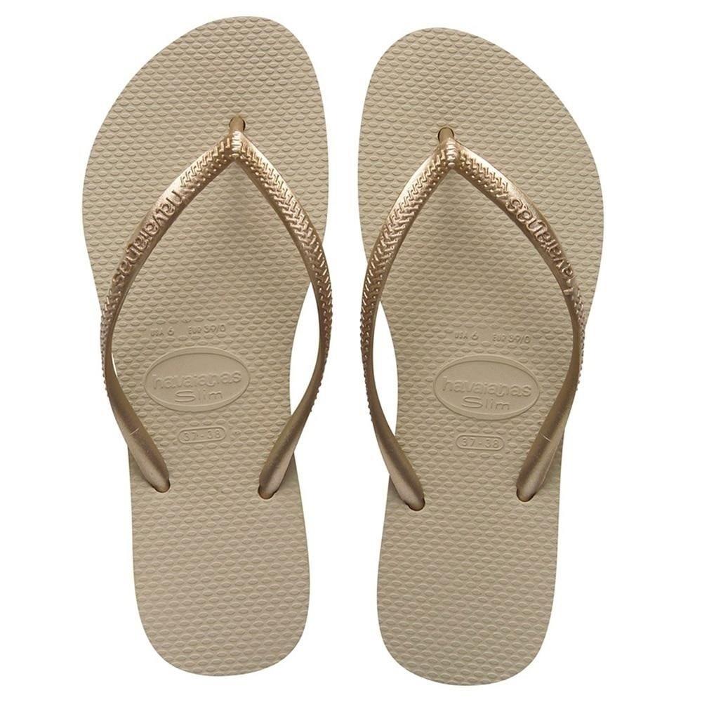 Chinelo Havaianas Areia/Dourado Feminino Slim