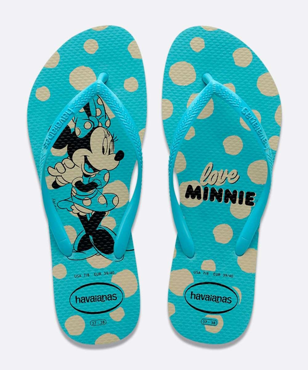 Chinelo Havaianas Azul Feminino Slim Disney