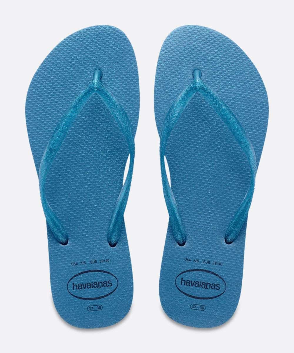 Chinelo Havaianas Azul Feminino Slim Gloss