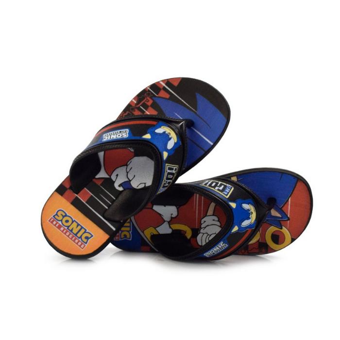 Chinelos Grendene Preto/Azul Masculino 22591 Sonic Speed
