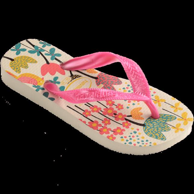Chinelos Havaianas Bege/Rosa Feminino Kids Flores