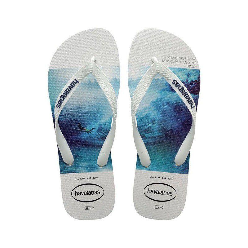 Chinelos Havaianas Branco/Azul Masculino Hype Fc