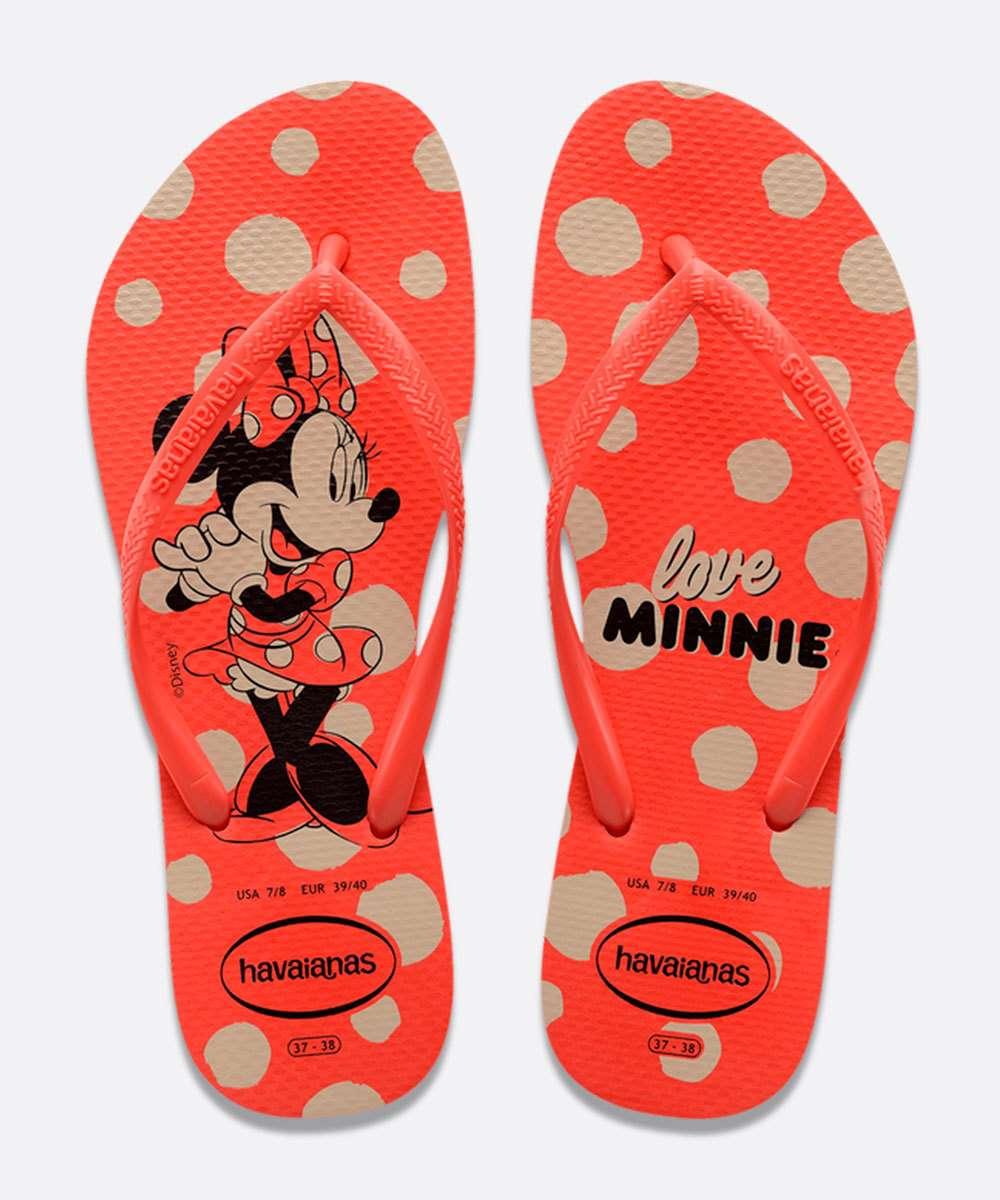 Chinelos Havaianas Vermelho Feminino Slim Disney