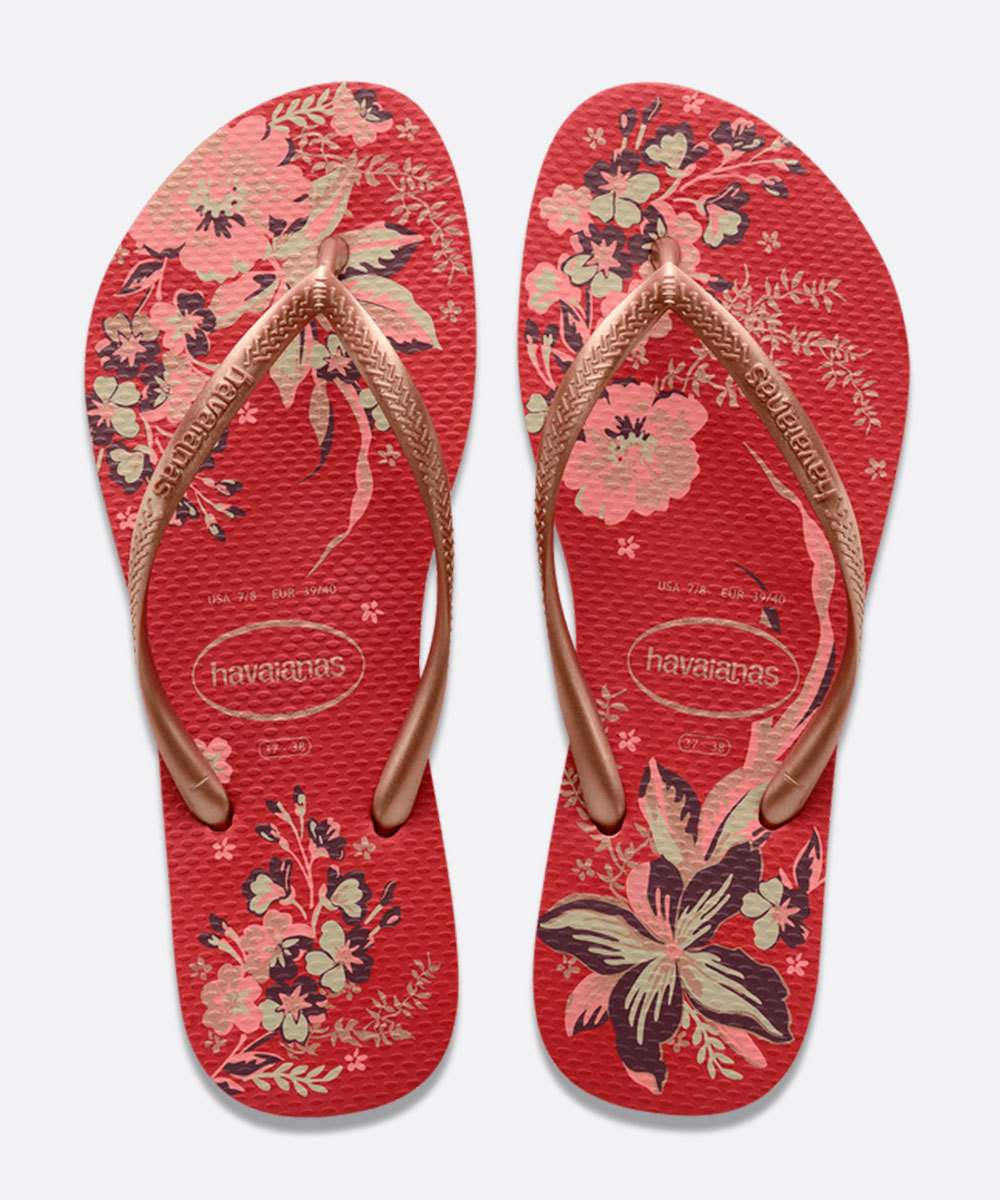 Chinelos Havaianas Vermelho/Rose Feminino Slim Organic