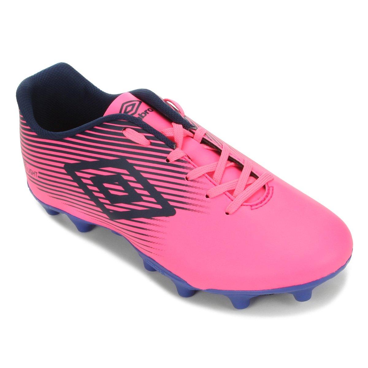 Chuteira Umbro Campo Pink/Marinho Feminina F5 Light