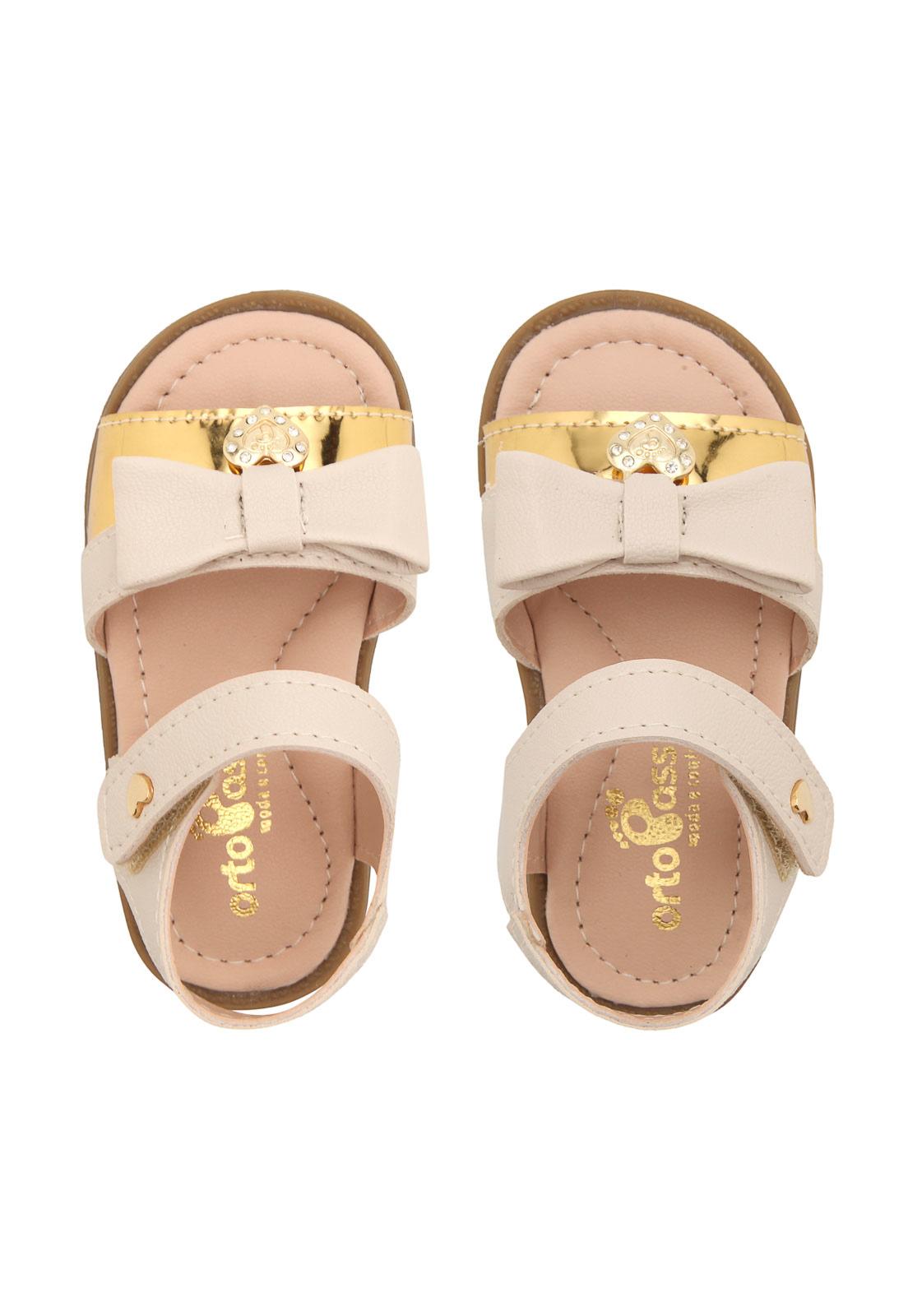 Sandalia Orto Passo Nude/Dourado Feminino 4427