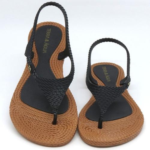 Sandalia Terra E Agua Preto/Caramelo Feminino 260600