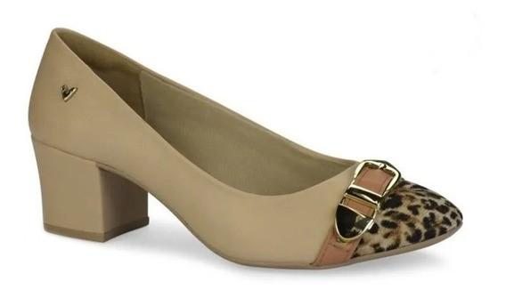 Sapato Salto Baixo Mississipi Bege Onça Feminino Q0112