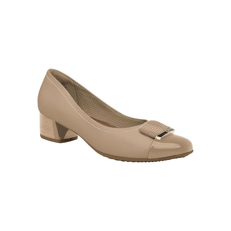 Sapato Salto Baixo Piccadilly Bege Feminino 322011