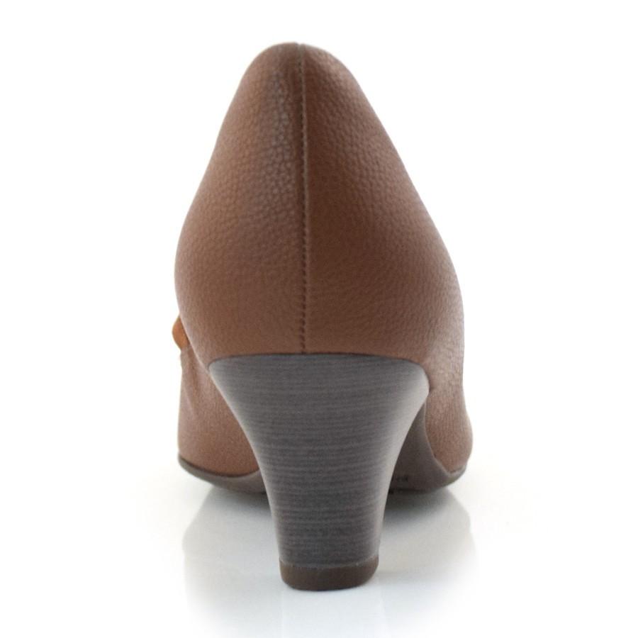 Sapato Salto Baixo Piccadilly Bege Feminino 703016