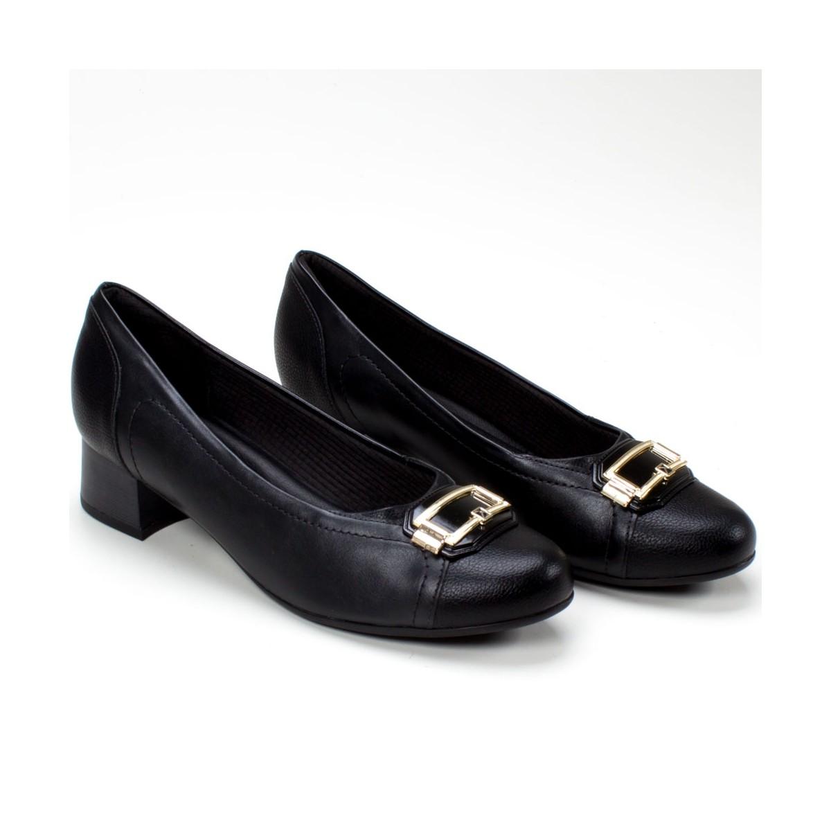 Sapato Salto Baixo Piccadilly Preto Feminino 141096