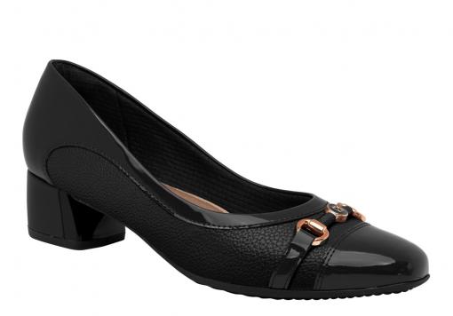 Sapato Salto Baixo Piccadilly Preto Feminino 322014