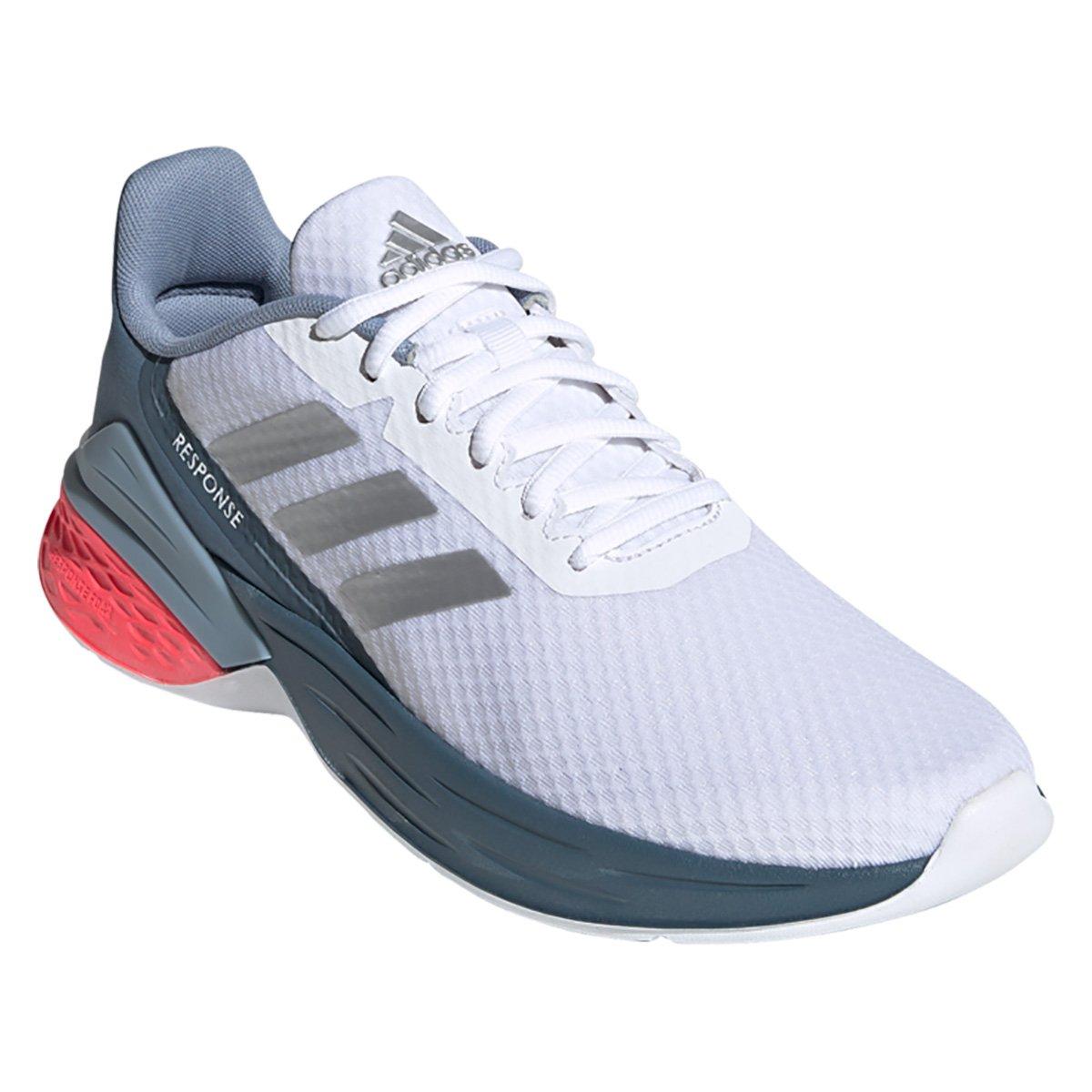 Tenis Adidas Branco/Cinza/Laranja Feminino Response Sr
