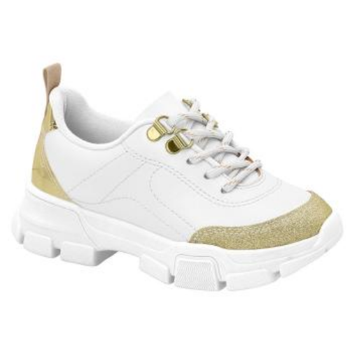 Tênis Molekinha Branco/Dourado Feminino 2541.101