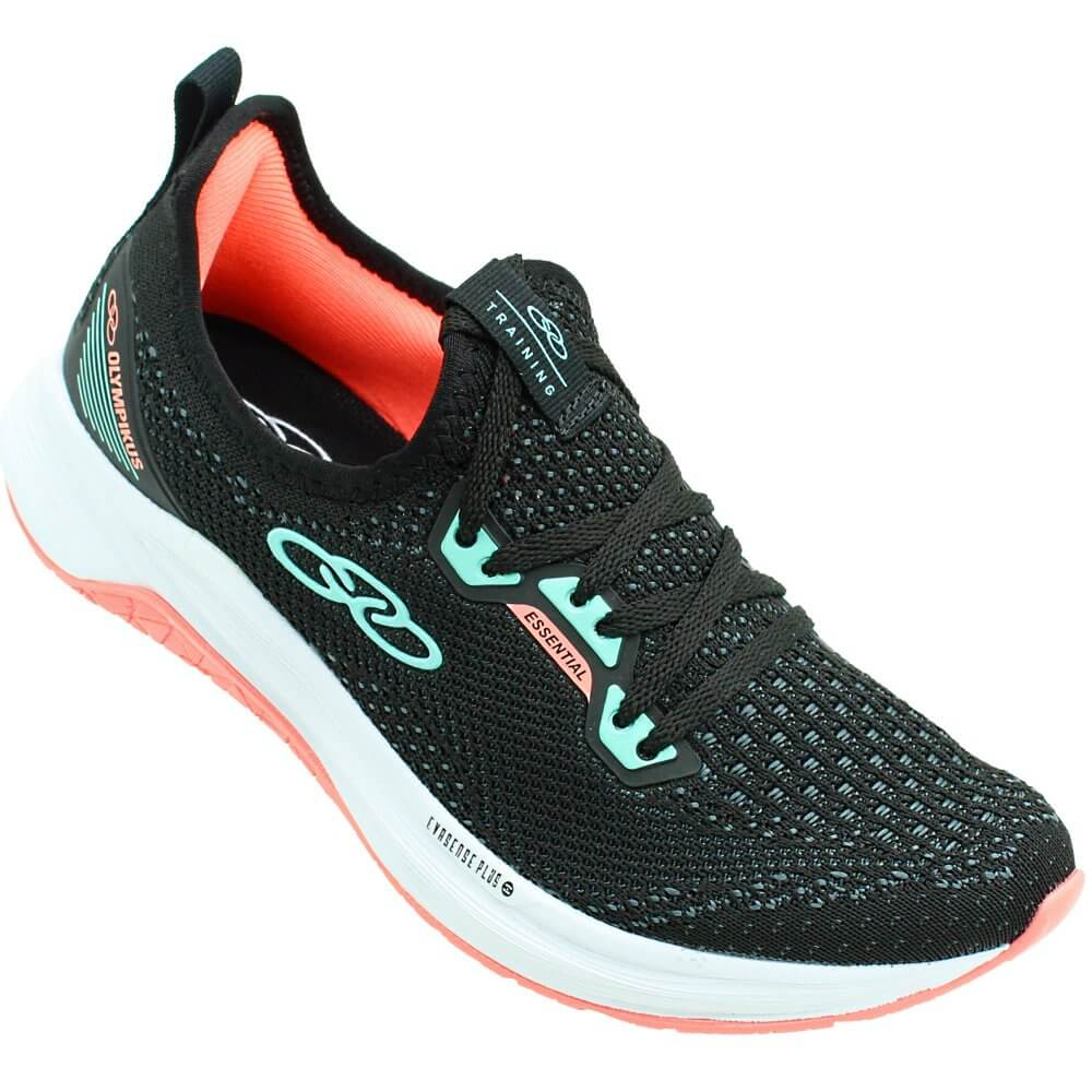 Tenis  Olympikus Pto/Verde/Coral Feminino Essential