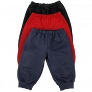 Calça de Moletom Para Bebês 6 a 18 Meses - Kit 3 Calças (Preta, Azul-Marinho e Vermelha)