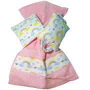 Kit Bebê 3 Peças Estampa Arco-Íris | Bolsa Térmica Cólicas, Toalha de Boca e Protetor de Porta