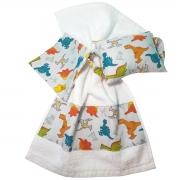 Kit Bebê 3 Peças Estampa Dinossauros | Bolsa Térmica Cólicas, Toalha de Boca e Protetor de Porta
