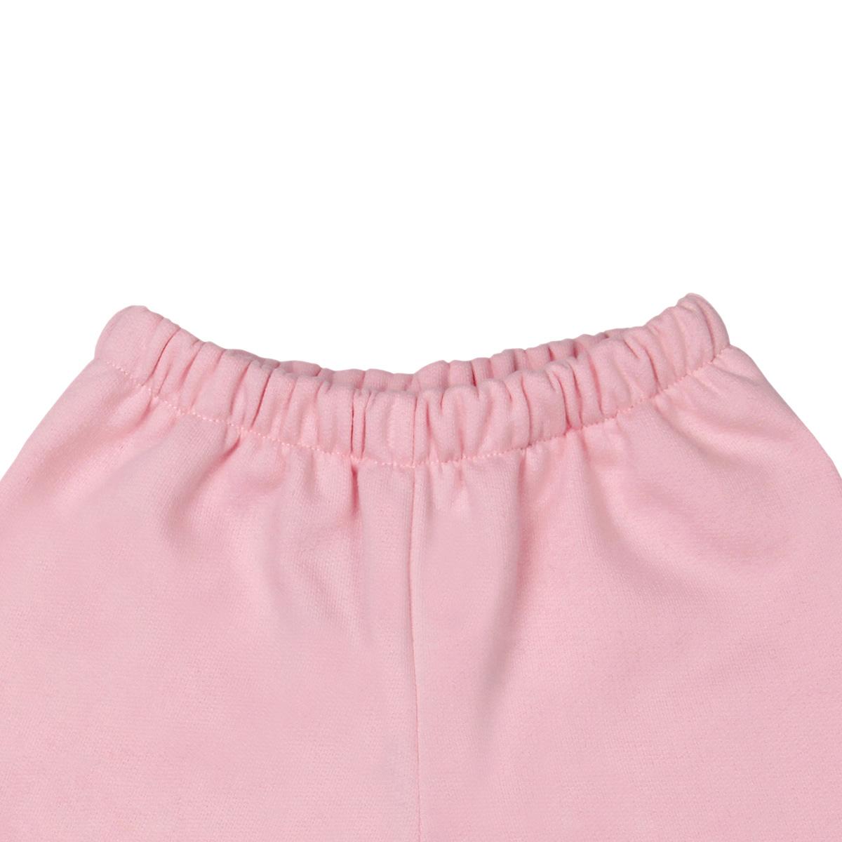 Calça De Moletom Para Bebê Tam. 6m a 18m Cor de Rosa