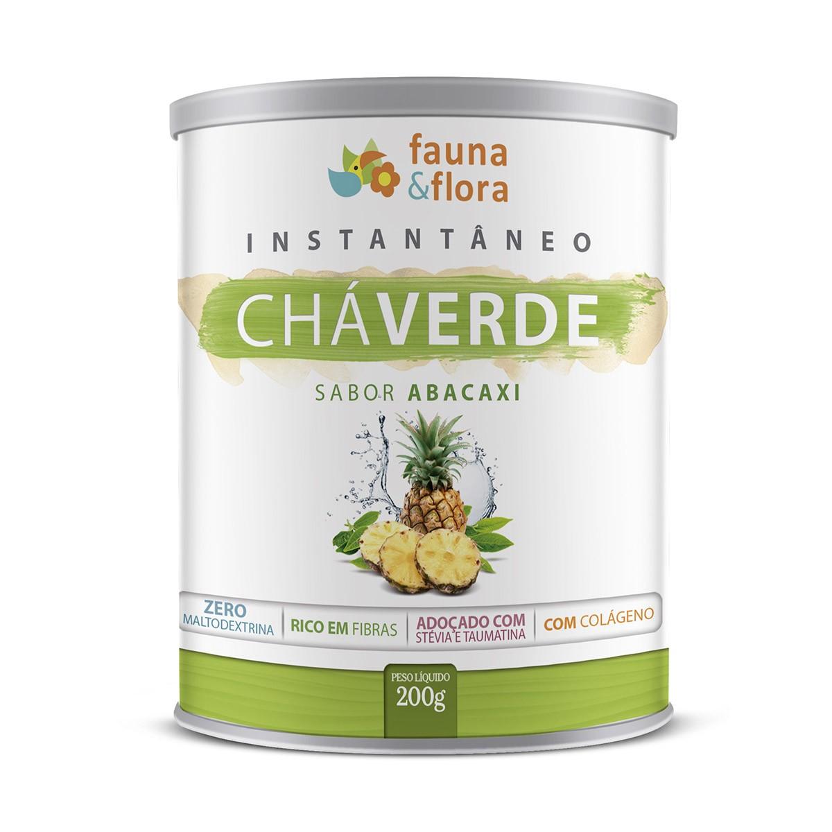 Chá Verde Instantâneo 200g Sabor Abacaxi | Ação Diurética