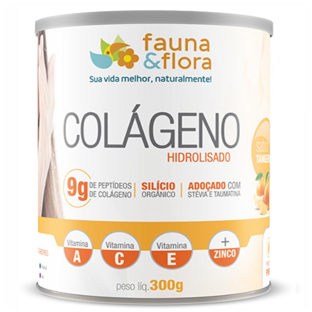 Colágeno Hidrolisado com Silício Orgânico + Vitaminas Fauna e Flora 300g Sabor Tangerina
