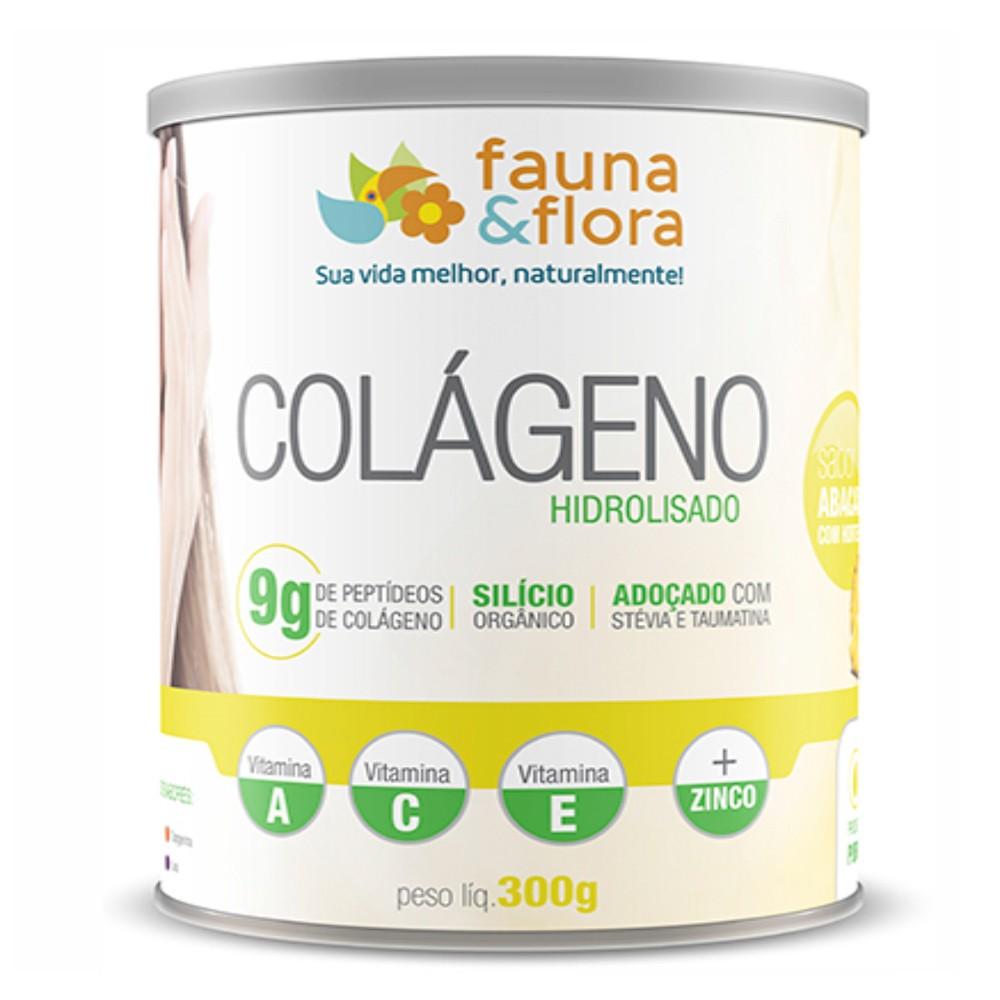 Colágeno Hidrolisado em Pó com Silício Orgânico Fauna e Flora 300g Sabor Abacaxi e Hortelã