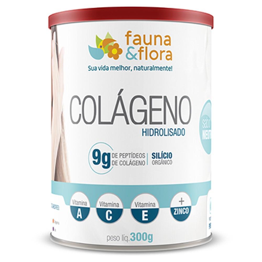 Colágeno Hidrolisado em Pó com Silício Orgânico Fauna e Flora 300g Sabor Neutro