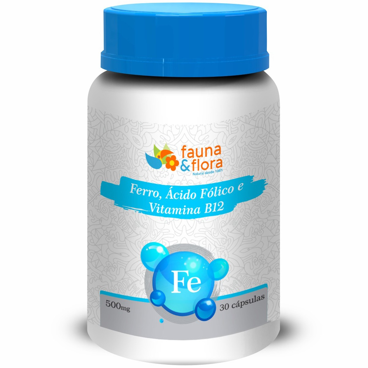 Ferro, Ácido Fólico e Vitamina B12 500mg 30 Cápsulas
